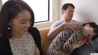 Japanese family roleplay mother blowjob in front of daughter